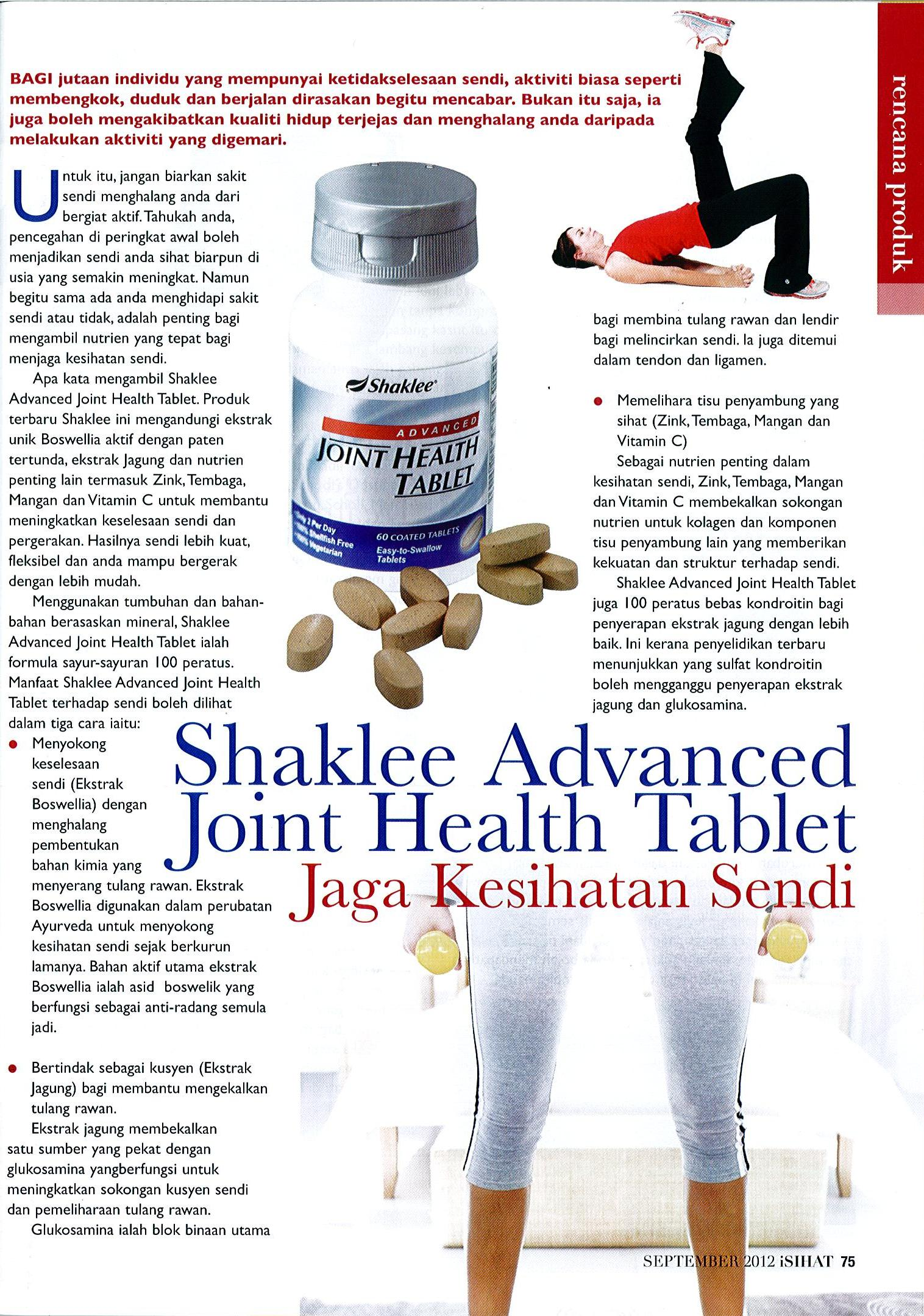Advanced Joint Health Tablet Advanced Joint Health Tablet Advanced Joint Health Tablet (AJHT) Shaklee Yang Anda Perlu Tahu Advanced Joint Health iSIHAT