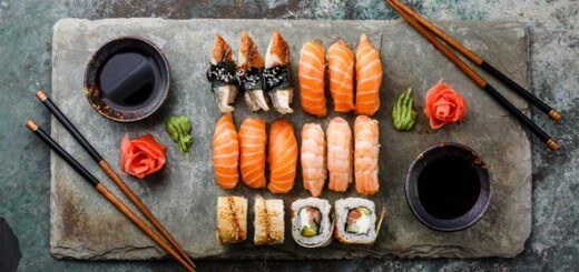 sushi-on-stone-chopping-board