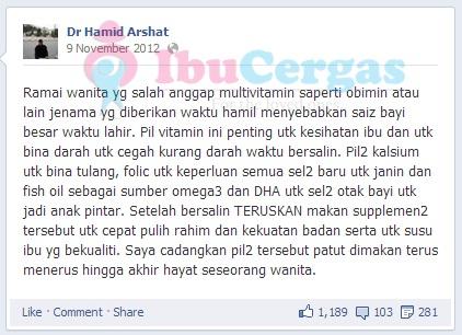 Dr Hamid Arshat - Set Bersalin Shaklee Terbaik 2, Review Set Bersalin Shaklee, Review Set Berpantang Shaklee, Review Set Hamil Shaklee,