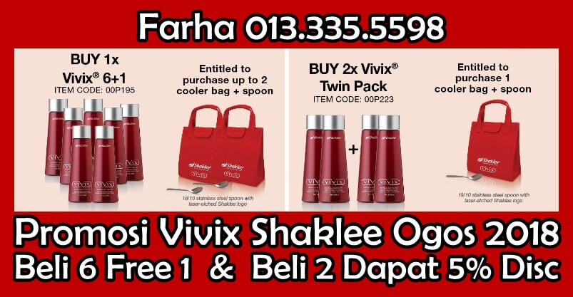Promosi Vivix Ogos 2018, Beli 6 Free 1 Vivix, Buy 6 Free 1 Vivix, Vivix Shaklee Promotion, Harga Vivix Berapa, Kat Mana Nak Beli Vivix, Pengedar Vivix Shaklee 6