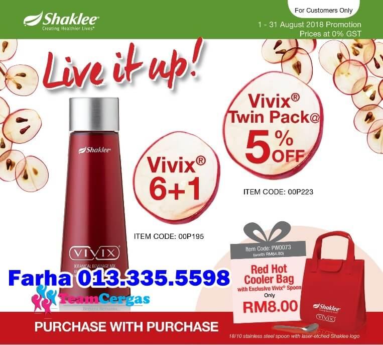 Promosi Vivix Ogos 2018, Beli 6 Free 1 Vivix, Buy 6 Free 1 Vivix, Vivix Shaklee Promotion, Harga Vivix Berapa, Kat Mana Nak Beli Vivix, Pengedar Vivix Shaklee