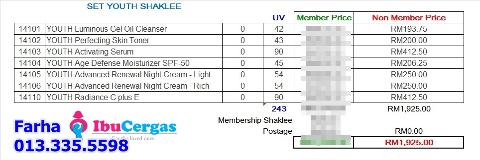 Harga Set Youth Shaklee
